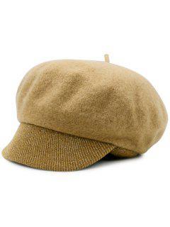 Wool Blend Knit Newsboy Hat - Camel
