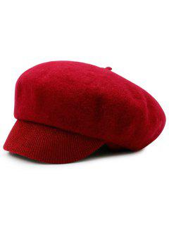 Wool Blend Knit Newsboy Hat - Red