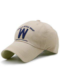 W Shape And Embroidery Baseball Hat - Khaki