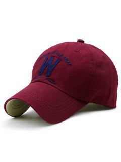 W Shape And Embroidery Baseball Hat - Wine Red