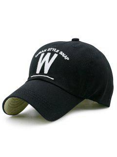 W Shape And Embroidery Baseball Hat - Black