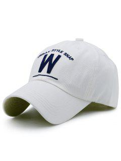 W Shape And Embroidery Baseball Hat - White