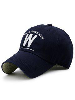 Forma De W Y Sombrero De Béisbol Del Bordado - Azul Marino