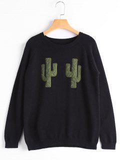 Pull Col Rond Graphique Cactus - Noir