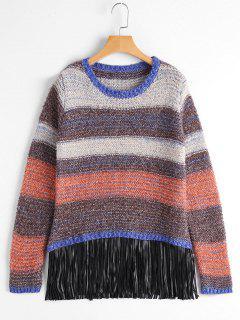 Sweater Frangé Multicolore Rayé Épais