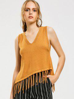 Fringed Vest Asymmetrical Sweater - Yellow