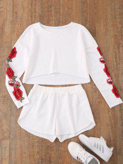 Casual Floral Applique Top With Dolphin Shorts - White L