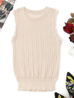 Fringes Hem Knitting Tank Top - Apricot