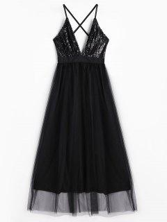 Sequins Plunge Neck Tulle Maxi Prom Dress - Black S