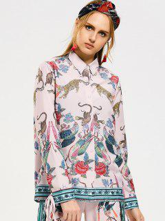Animal Bow Tied Button Down Shirt - Pink S