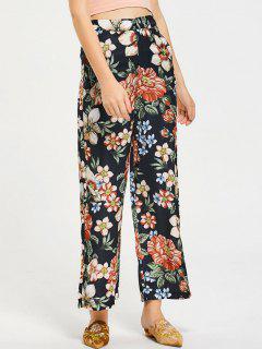 Pantalon Casual Jambes Évasées Taille Haute Floral - Floral L