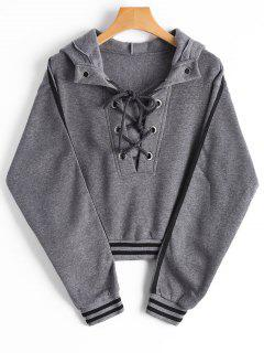 Stripes Panel Lace Up Cropped Hoodie - Gray Xl