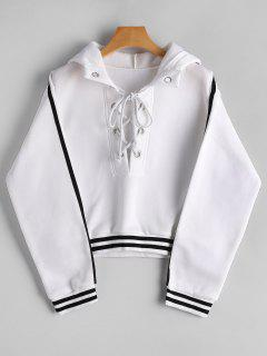 Stripes Panel Lace Up Cropped Hoodie - White S
