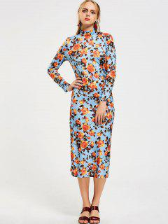 Turtleneck Long Sleeve Floral Midi Dress - Floral S