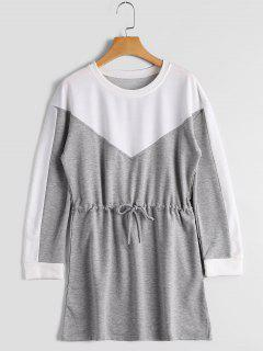 Drawstring Long Sleeve Color Block Dress - Gray S