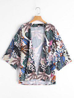 Tropical Leaf Print Kimono Top - Floral M