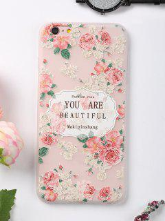 Letters Rose Pattern Phone Case For Iphone - Pink For Iphone 6 Plus / 6s Plus