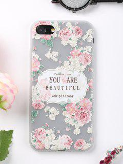 Letters Rose Pattern Phone Case For Iphone - Pink For Iphone 7