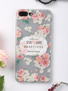Letters Rose Pattern Phone Case For Iphone - Pink For Iphone 7 Plus