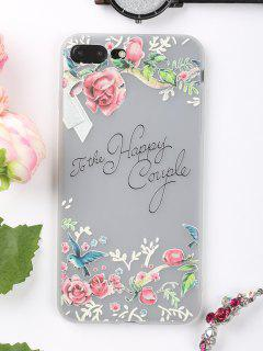 Letters Flowers Pattern Phone Case For Iphone - Pink For Iphone 7 Plus