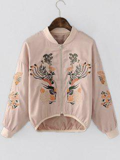 Asymmetric Embroidered Bomber Jacket - Pink L