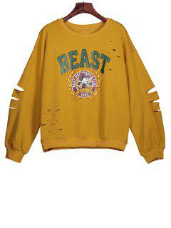 Ripped Sweatshirt With Cartoon Print - Deep Yellow