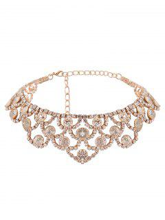 Alloy Sparkly Rhinestone Necklace - Golden