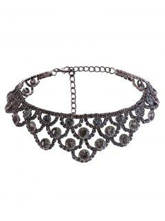 Alloy Sparkly Rhinestone Necklace - Gun Metal