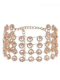 Alloy Multilayered Rhinestone Sparkly Necklace - Golden