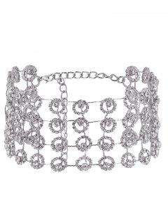 Alloy Multilayered Rhinestone Sparkly Necklace - Silver