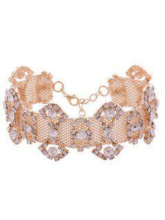 Alloy Rhinestone Geometric Necklace - Golden