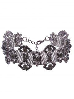 Alloy Rhinestone Geometric Necklace - Gun Metal