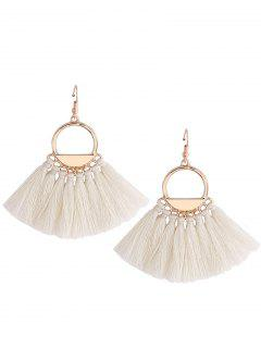 Vintage Tassel Circle Fish Hook Earrings - White