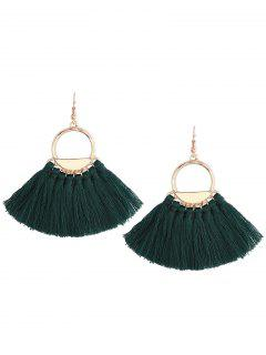 Vintage Tassel Circle Fish Hook Earrings - Green