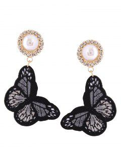 Rhinestone Faux Pearl Butterfly Embroidery Earrings - Black