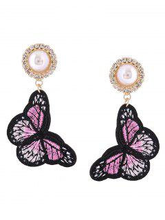 Rhinestone Faux Pearl Butterfly Embroidery Earrings - Pink