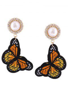 Rhinestone Faux Pearl Butterfly Embroidery Earrings - Orange