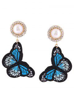 Rhinestone Faux Pearl Butterfly Embroidery Earrings - Blue