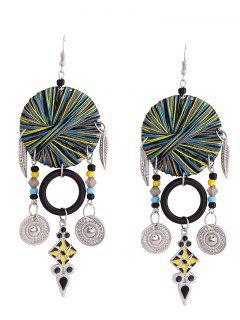 Bohemian Leaf Circle Chandelier Earrings - Black