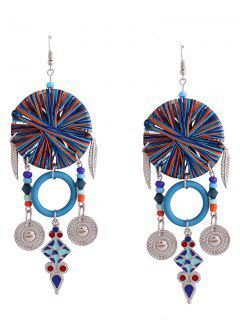 Bohemian Leaf Circle Chandelier Earrings - Blue