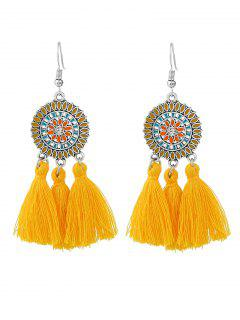 Bohemian Floral Round Tassel Hook Earrings - Yellow