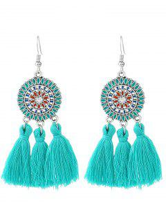 Bohemian Floral Round Tassel Hook Earrings - Lake Blue