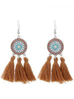 Bohemian Floral Round Tassel Hook Earrings - Brown