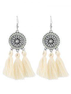 Bohemian Floral Round Tassel Hook Earrings - White