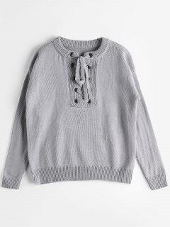 Grommet Lace Up Sweater - Gray