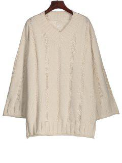 Long Sleeve Cable Knit Tunic Sweater - Off-white