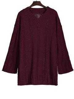 Long Sleeve Cable Knit Tunic Sweater - Wine Red