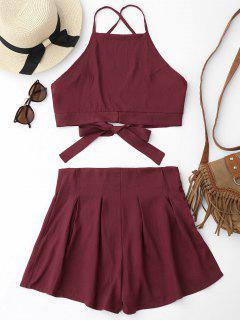 Cami Crop Top Und Shorts Set - Dunkelrot Xl
