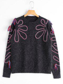 Tassel Braided Crew Neck Sweater - Black