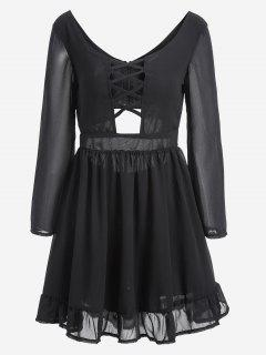 Criss Cross Cut Out Chiffon Dress - Black 2xl